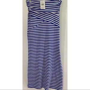 Guess Gayla striped maxi skirt jewel blue size S